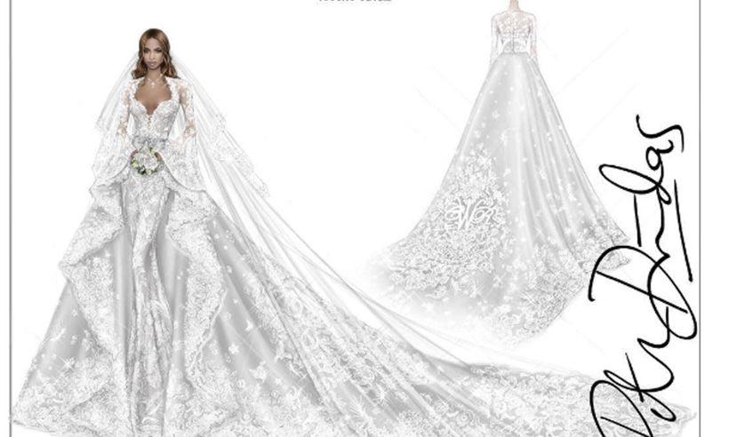 Roberto Cavalli shares beautiful sketch of Ciara\'s wedding dress