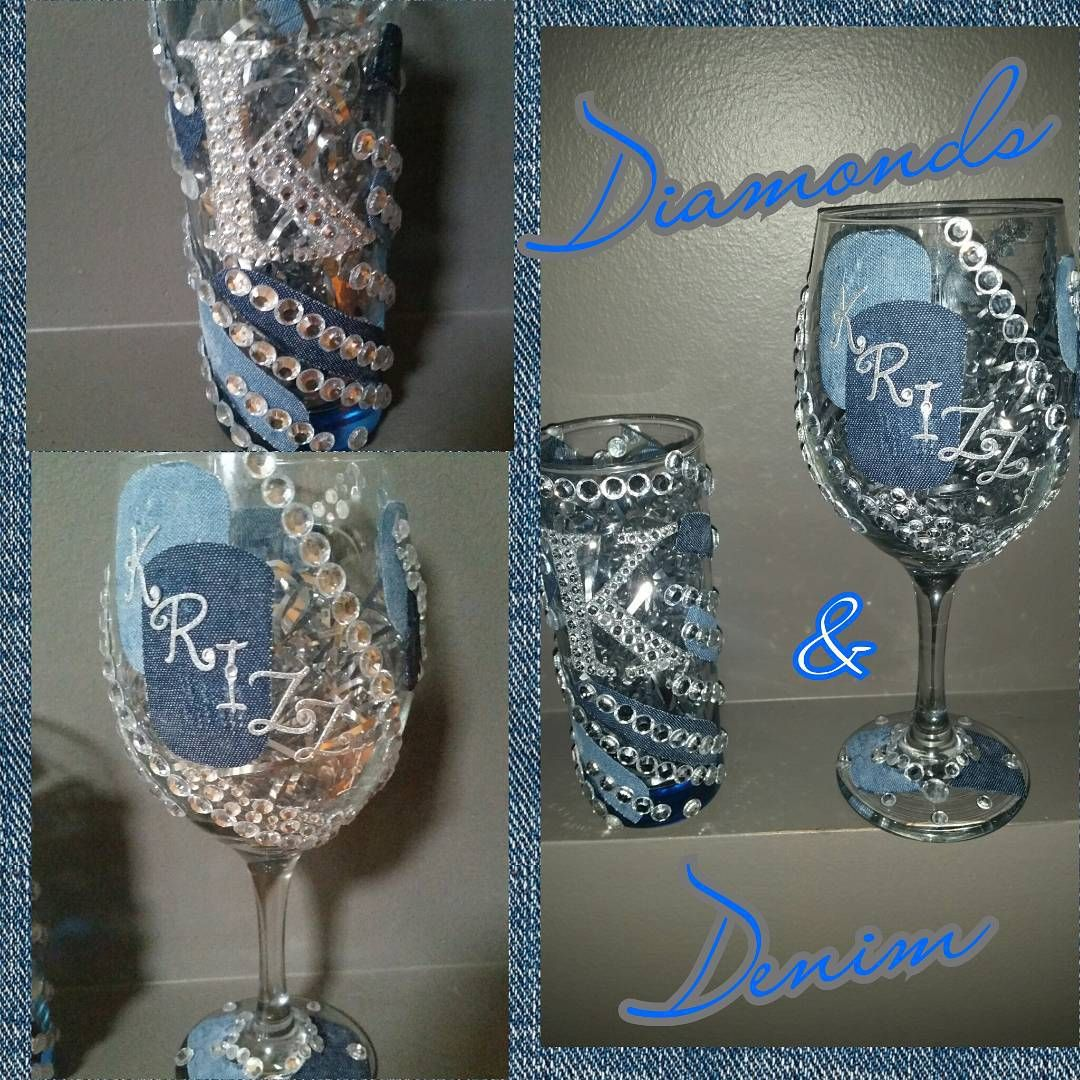 """Diamonds & Denim!!!! #glamorouzglasses #diamonds #denim"