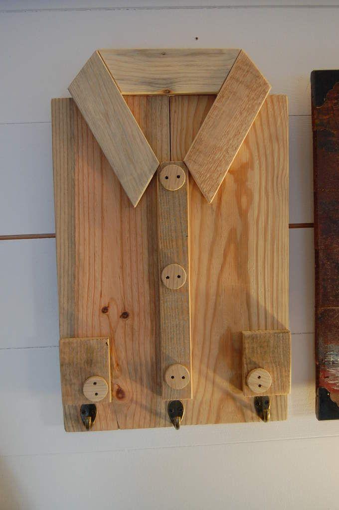 Cadre chemise porte clés en bois de palettes 29\u20ac Port 8 \u20ac biblio