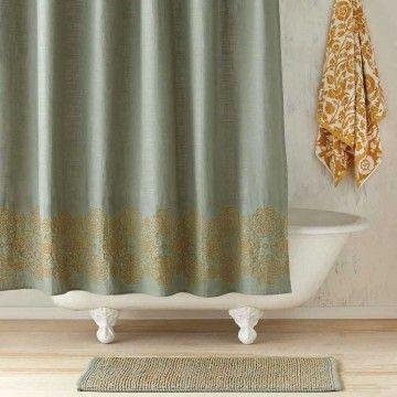 Ajrak Jade Gold Shower Curtain John Robshaw Com Gold Shower