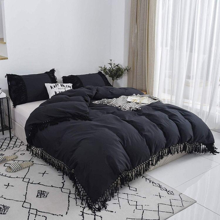 100 Cotton Tassel Fringed Design Solid Color Duvet Cover Set Bohemian Style Bedding Set 1 Duvet Cover 2 Pillowshams Black Duvet Black Duvet Cover Duvet Cover Sets Bohemian