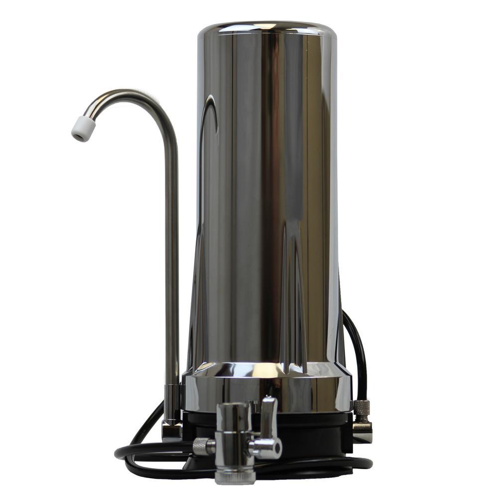 Matterhorn 2 Stage Countertop Water Filter In Chrome Grey Countertop Water Filter Water Filter Best Water Filter