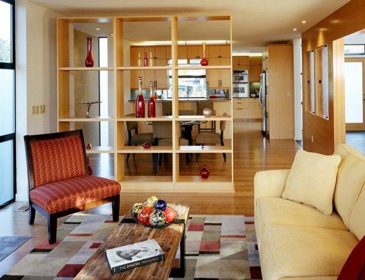 dining room free standing wooden shelves as partition between living rh pinterest com free standing wooden shelves for kitchen free standing wood shelves