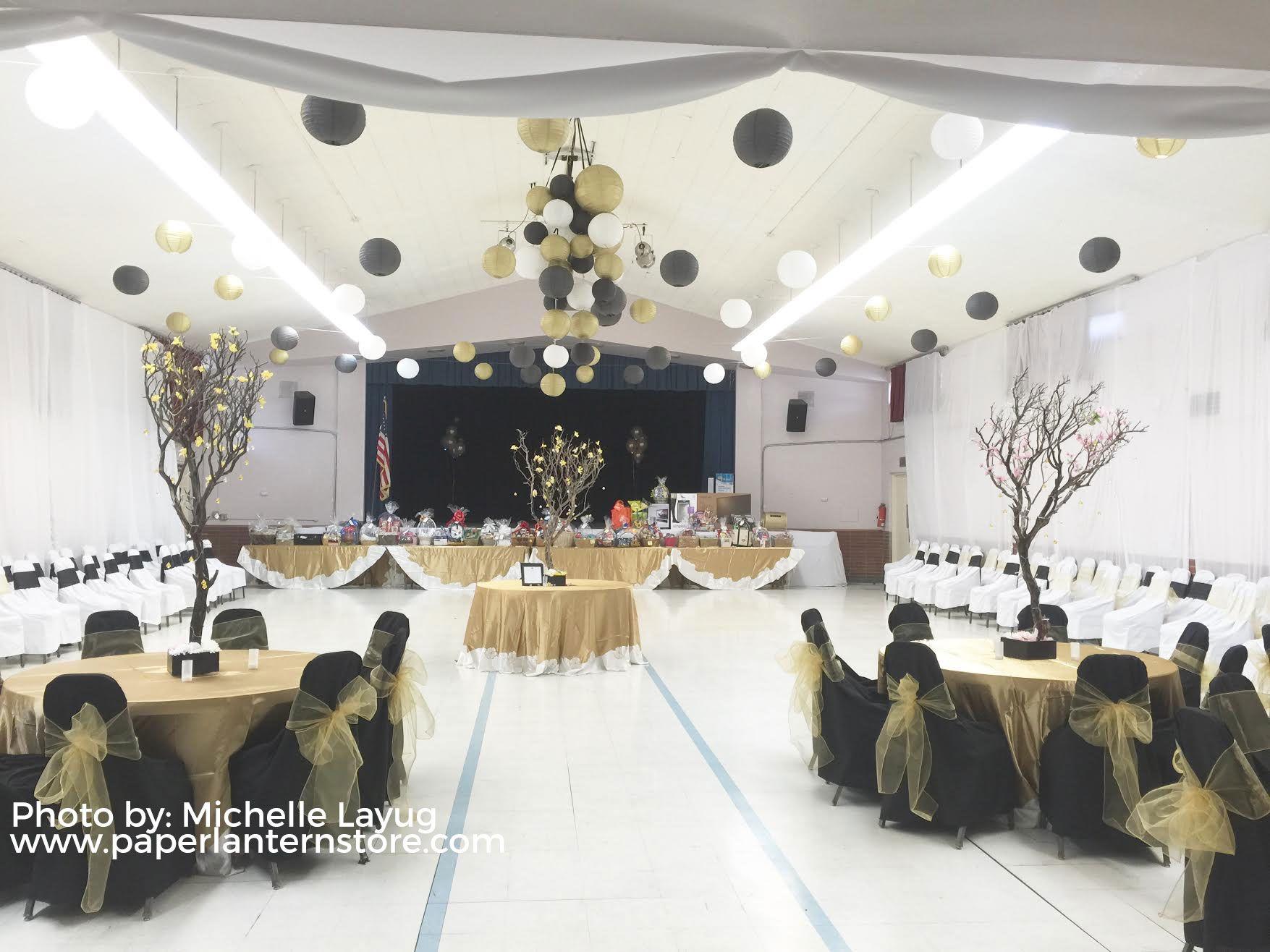 12 Gold Round Paper Lantern Even Ribbing Hanging Decoration