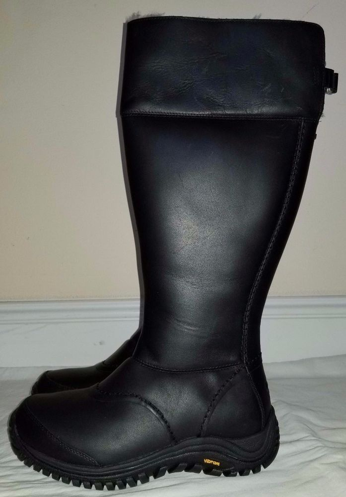 2e859a6bb04 Ugg Australia Womens Leather Black High Leather Boots Size 10 ...