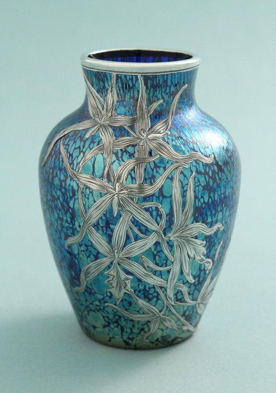Fine Silver Overlay Loetz Papillon Glass Vase The Cobalt Blue Vase