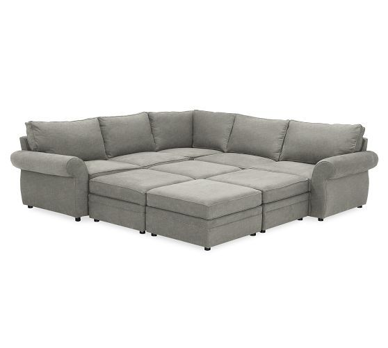 Coolest Couch Ever Potterybarn Pearce Upholstered 6 Piece Pit Sectional Twill White