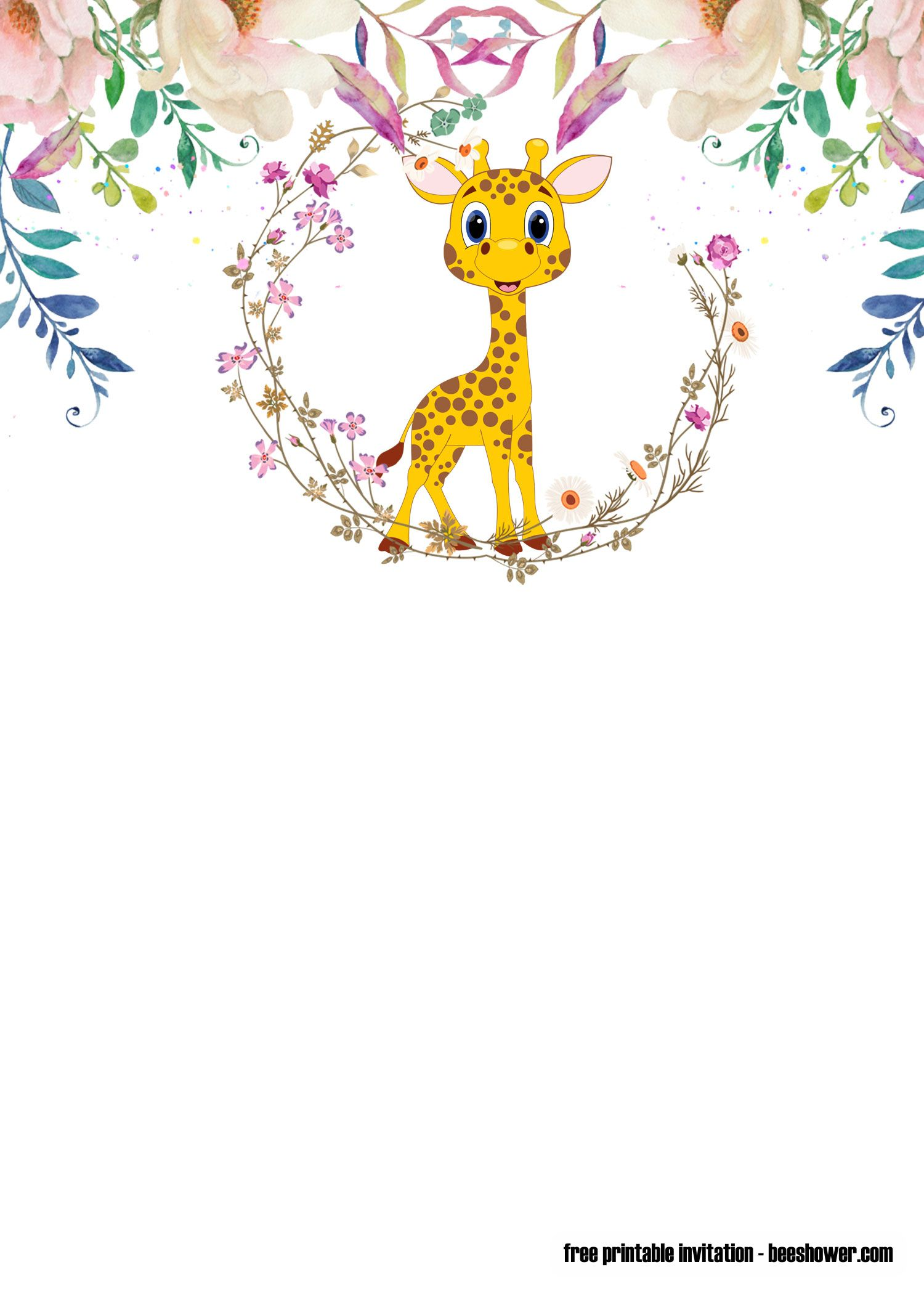 Download Free Cute Giraffe Baby Shower Invitations