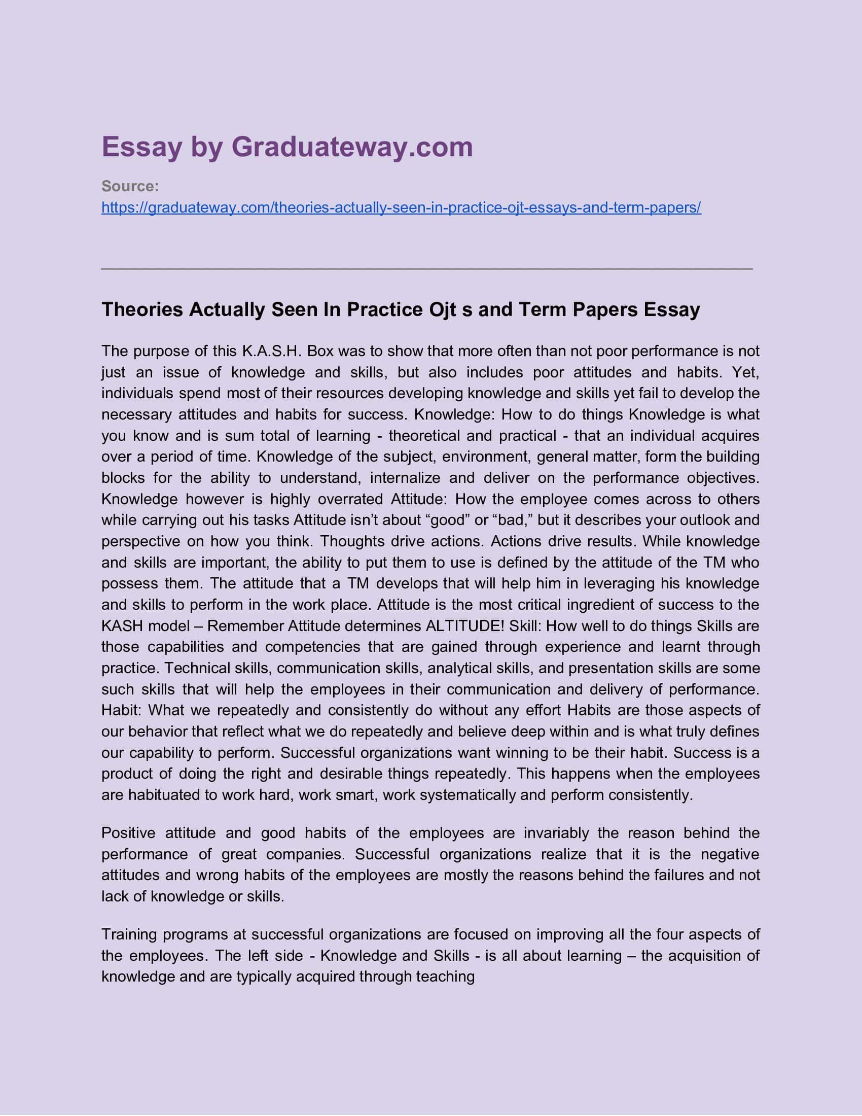 Essay About Ojt Example Term Paper Cause And Effect On Poverty