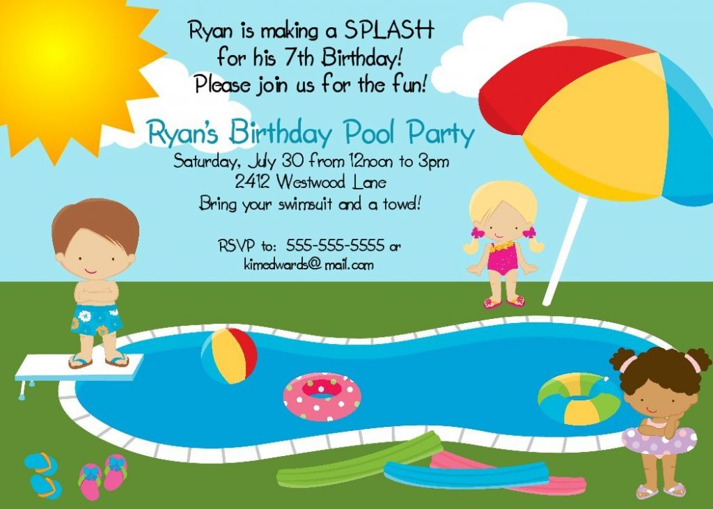 Free Printable Pool Party Invites For Kids | Lily birthday party ...
