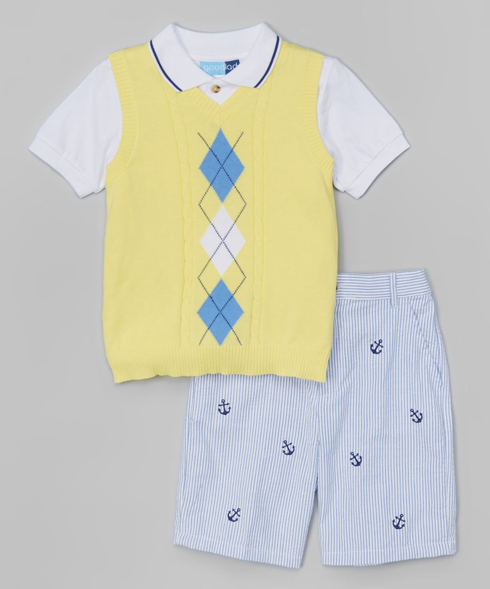 Polo Top and Striped Seersucker Pants Set Good Lad Yellow Argyle Sweater Vest