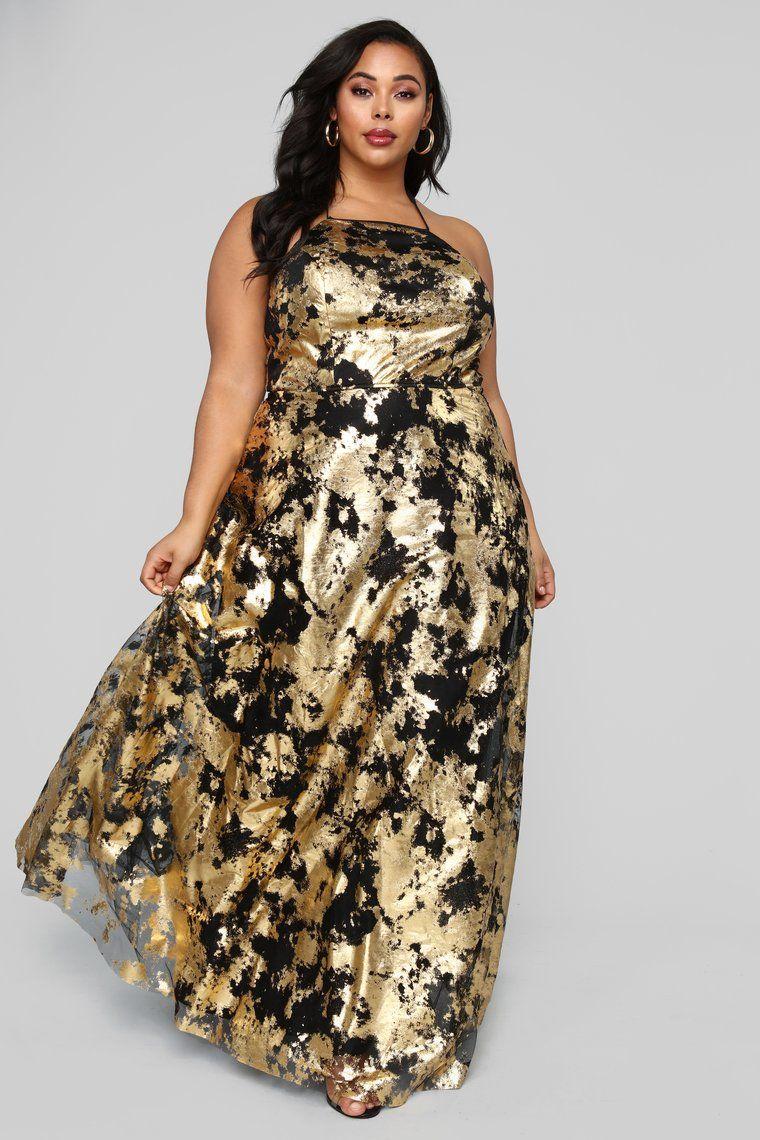 Take Me Higher Metallic Gown - Black/Gold | Plus size ...