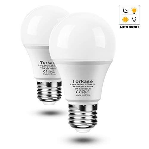 2 Pack Dusk Till Dawn Light Sensor A19 Led Bulb 9 Watt 600