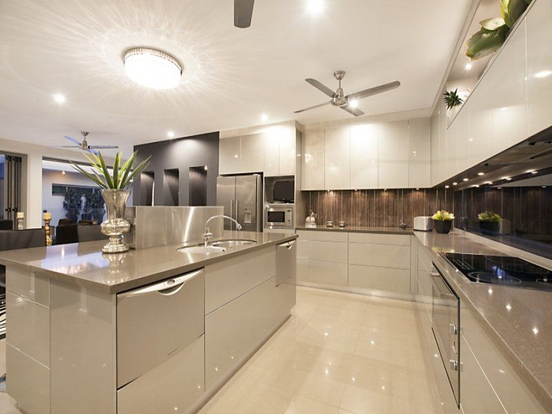 modern open plan kitchen design using tiles - kitchen photo