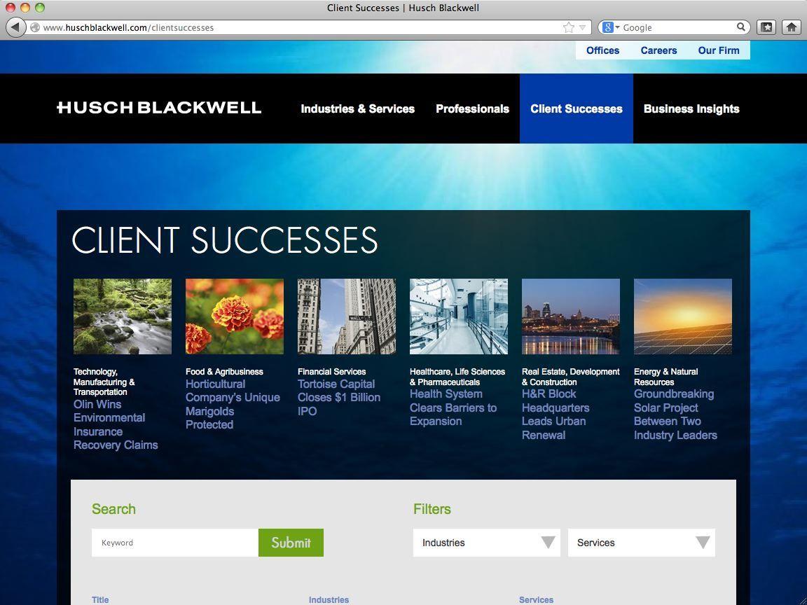 Husch Blackwell client successes page Web development