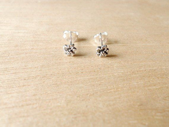 9ab063e0a 1 pair of 5 mm Small Forget- Me-Not Post Stud Earrings, 92.5% Oxidized  Sterling Silver, Cartilage/L