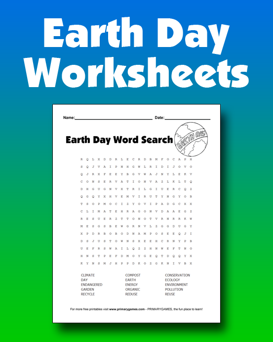 Earth Day Worksheets  Kid Free printable and Activities