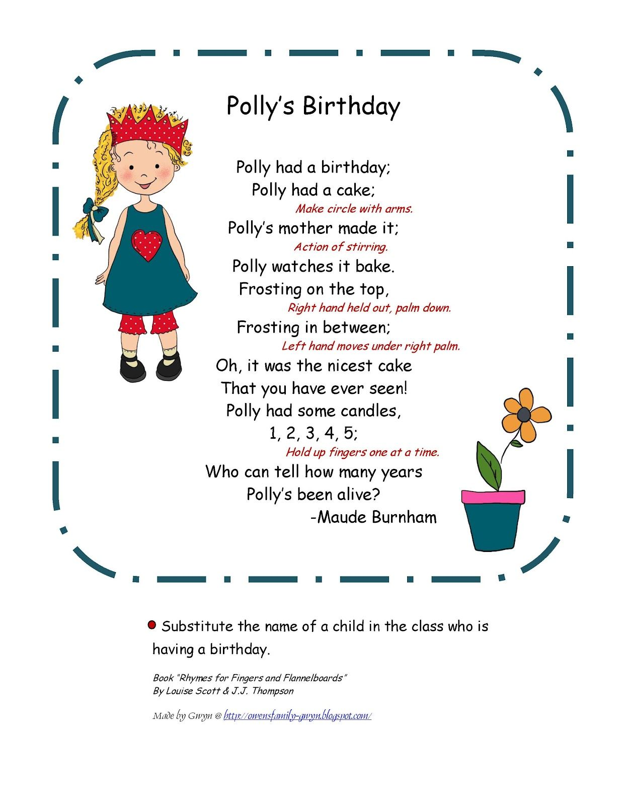 Preschool Printables Polly S Birthday Poem