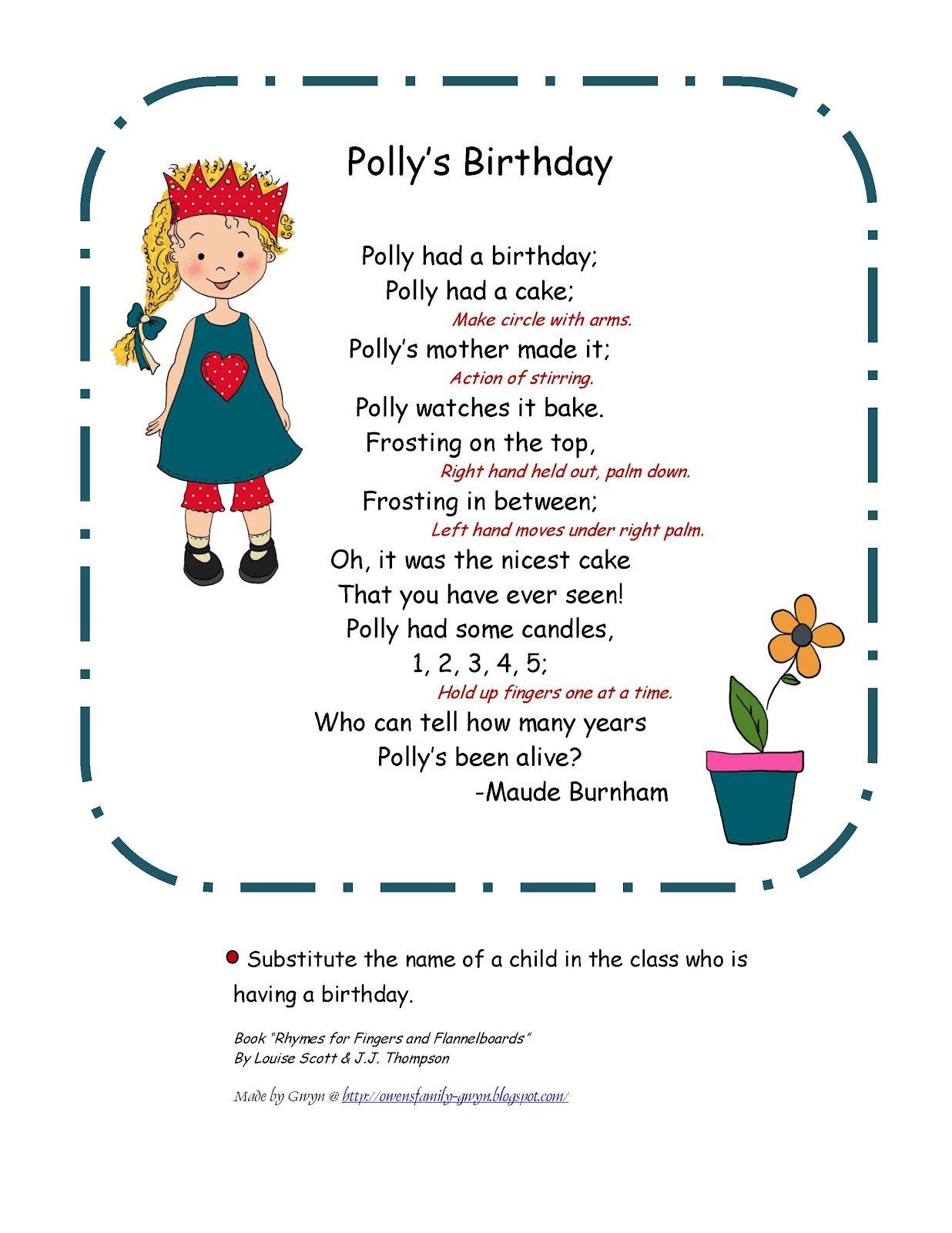 Preschool Printables Polly S Birthday Poem