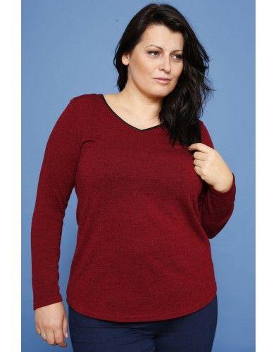 Dzianinowa bluzka basic - burgund/SE Odzież damska w dużych rozmiarach, Polska moda, made in poland, duże rozmiary