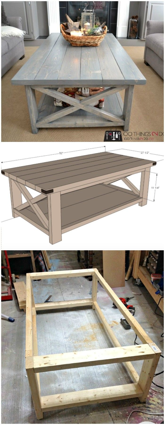 DIY Coffee Table - Rustic X -   21 crafts table ideas