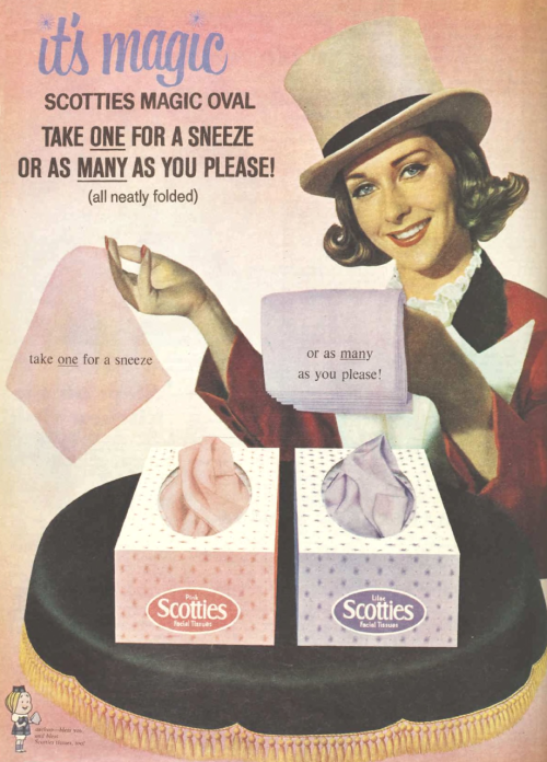 1964 Advertisement for Scotties Facial Tissues Facial