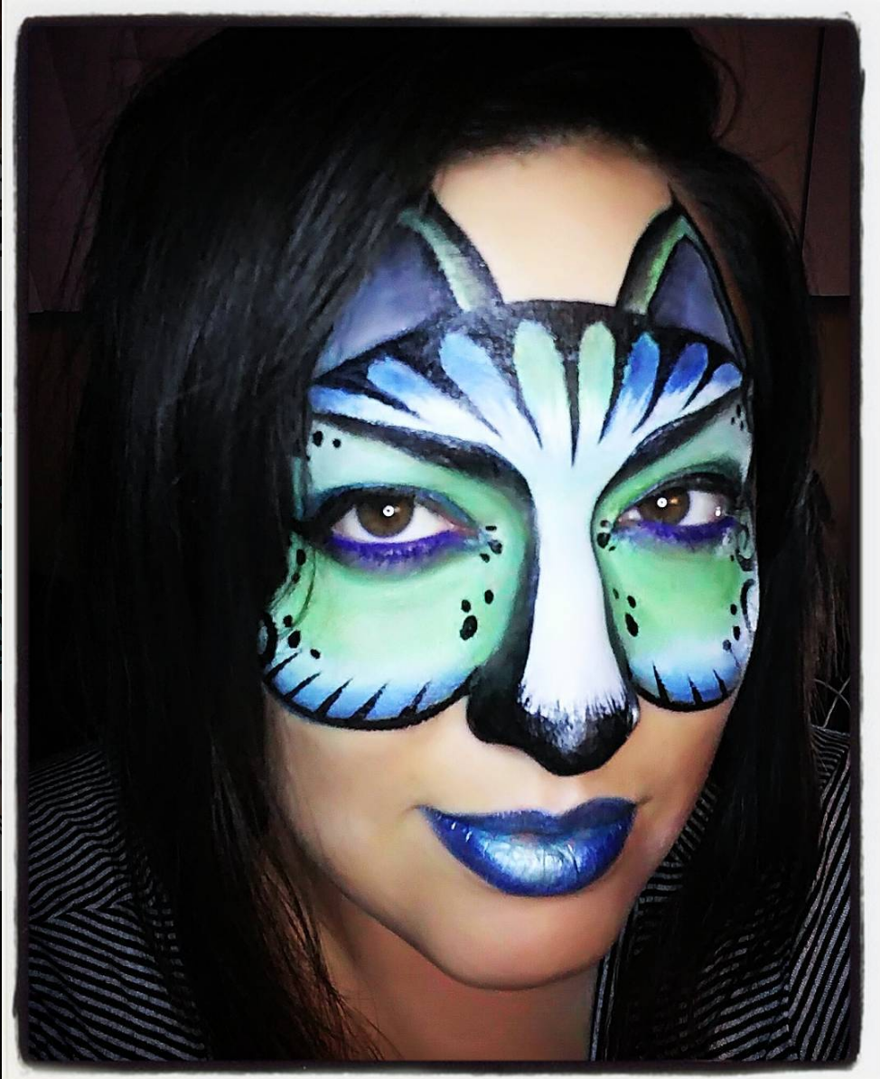 Uncategorized Cat Paint Face blue green cat mask face painting inspired by a mandy rita tardif design