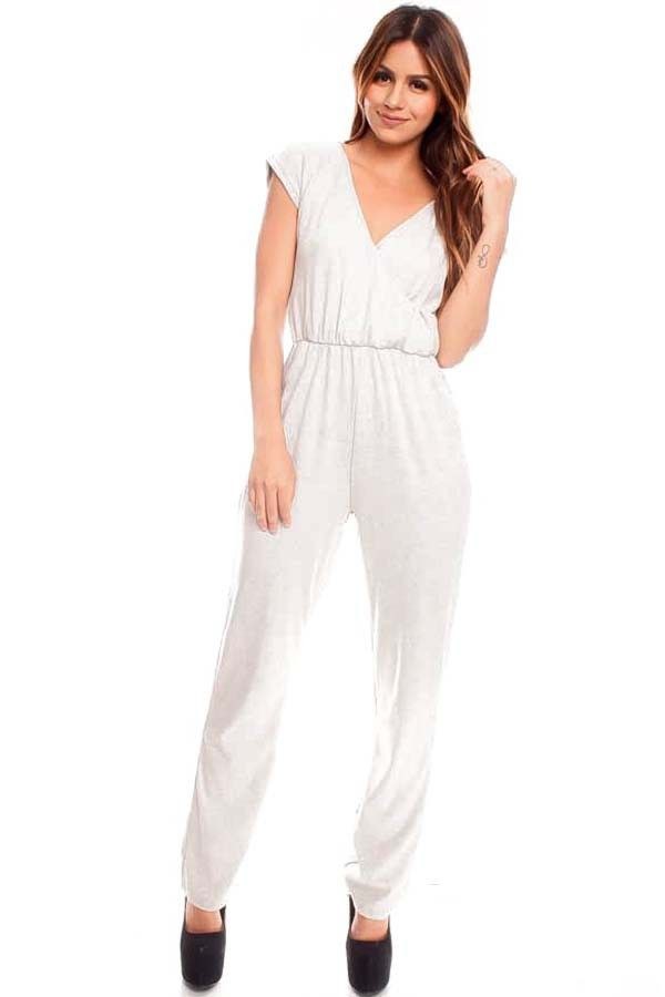 GREY SHORT SLEEVE VNECK LOOK ELASTIC WAISTBAND JUMPSUIT,Sexy ...