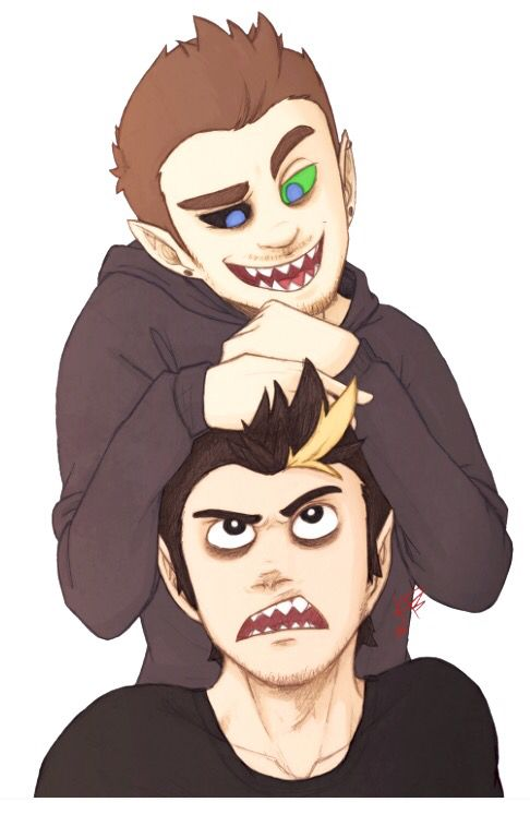 "Haha darkiplier's like ""get off my head u dick"" and antisepticeye is like ""yeah that's not happening"" XD (Darkiplier and Antisepticeye, Mark and Jacks evil twins)"