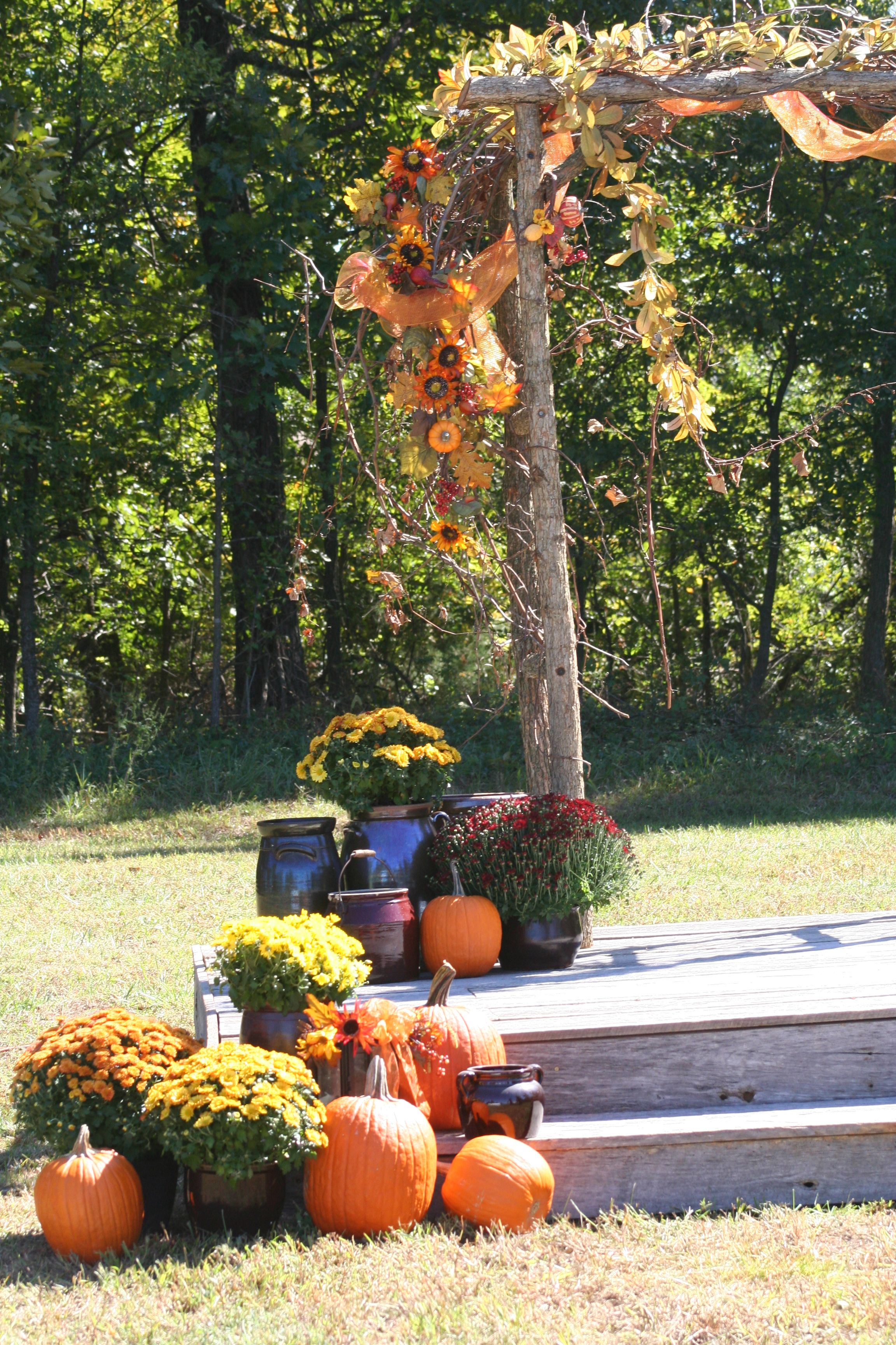 Rustic country fall wedding arch decorated with sunflowers rustic country fall wedding arch decorated with sunflowers grapevines orange tulle crocks junglespirit Image collections