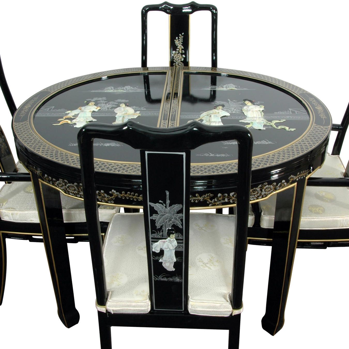 Lacquer Dining Room Set Black Mother Of Pearl Asian Decor Bathroom Asian Inspired Decor Dining Room Furniture