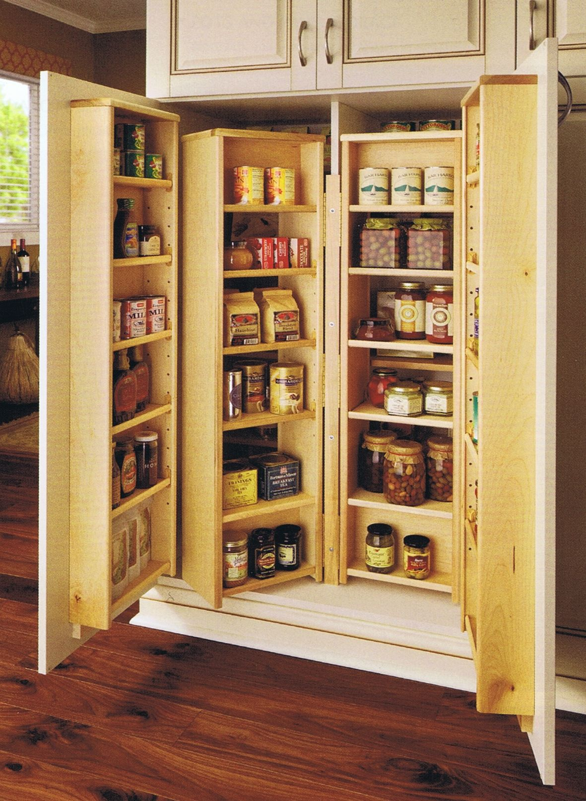 Pantry Cabinets: Neat Triple Shelf Space