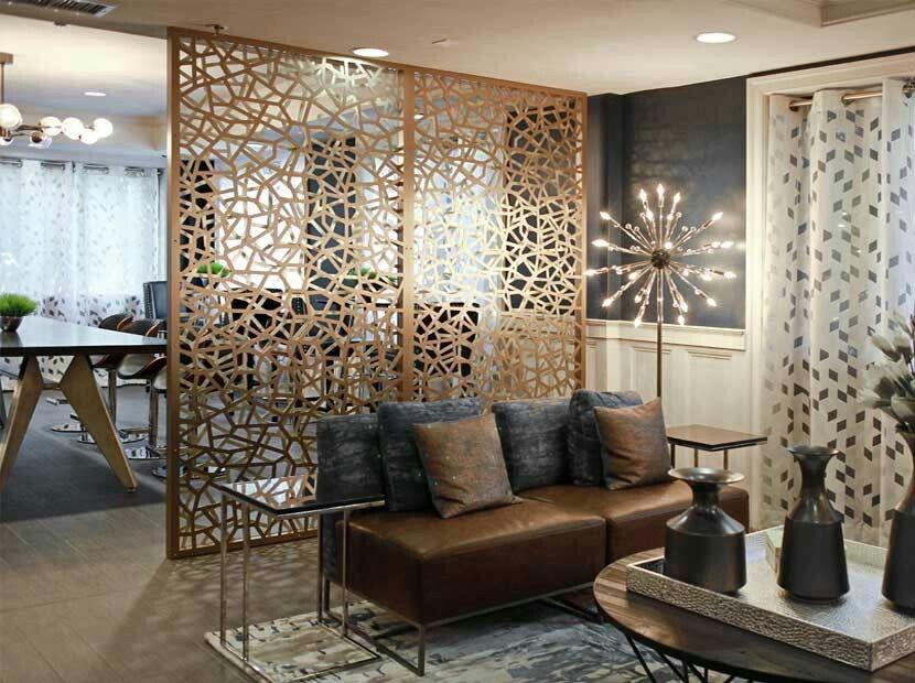 Decorative Screen Room Divider Double Layer Bronze Gold Aluminum