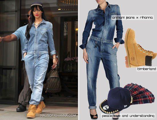 f6e72e9335ac Rihanna in Armani Jeans denim jumpsuit