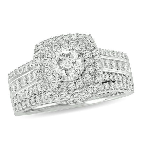 1 Ct T W Diamond Double Cushion Frame Multi Row Bridal Set In 10k White Gold Bridal Jewelry White Gold Bridal Sets
