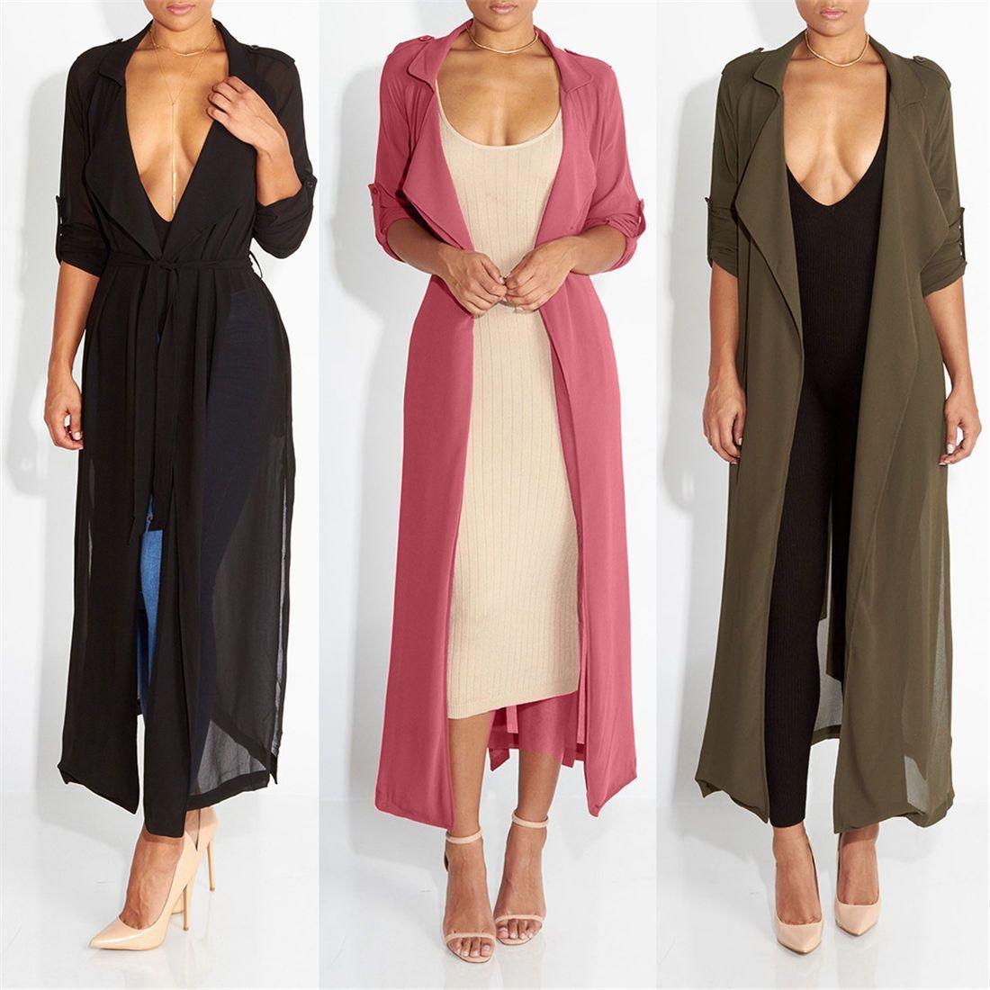 3df53ccadb5 Women s Lapel Roll-Up Long Sleeve Belted Trench Coat Full Length Chiffon  Jacket