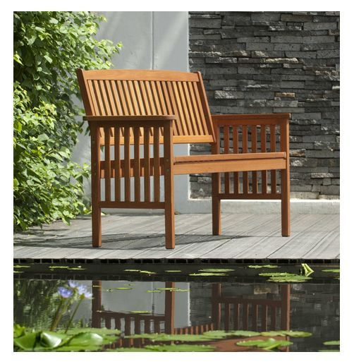 Wooden Garden Bench Two Seater Eucalyptus Wood Outdoor Classic Patio  Furniture
