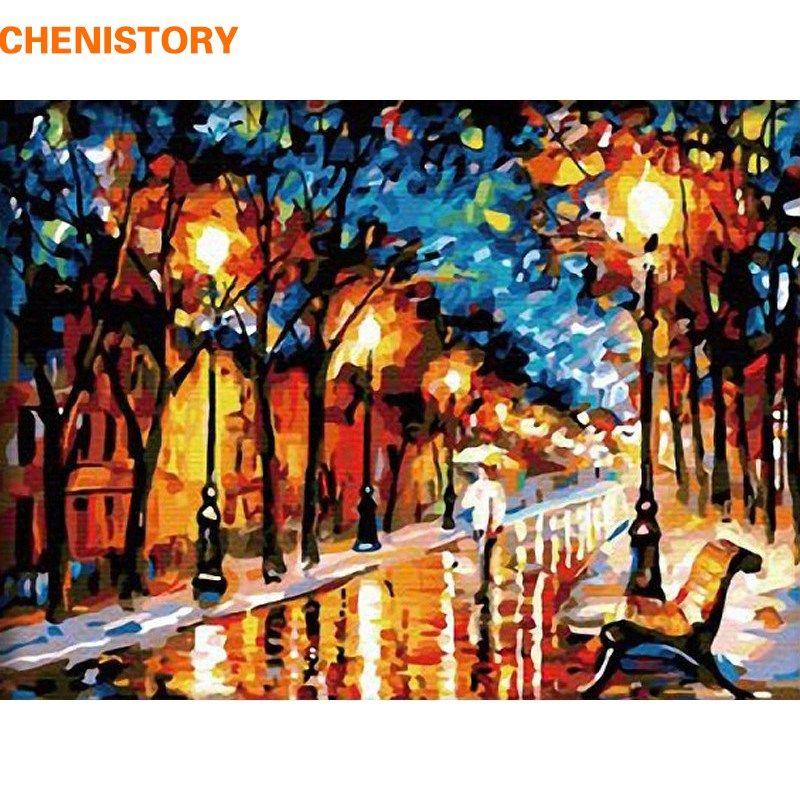 Chenistory Unframed Walk In Rain Diy Digital Painting By Number Drawing Color Painting Unique Gift For Ho Abstract City Abstract Painting Diy Wall Art Pictures