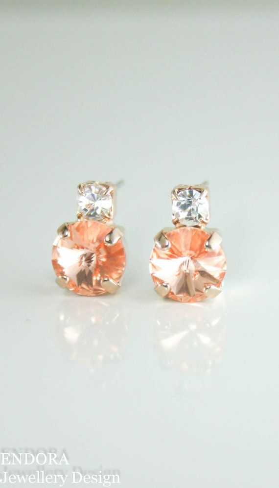 stone il listing peach bridesmaid earrings champagne