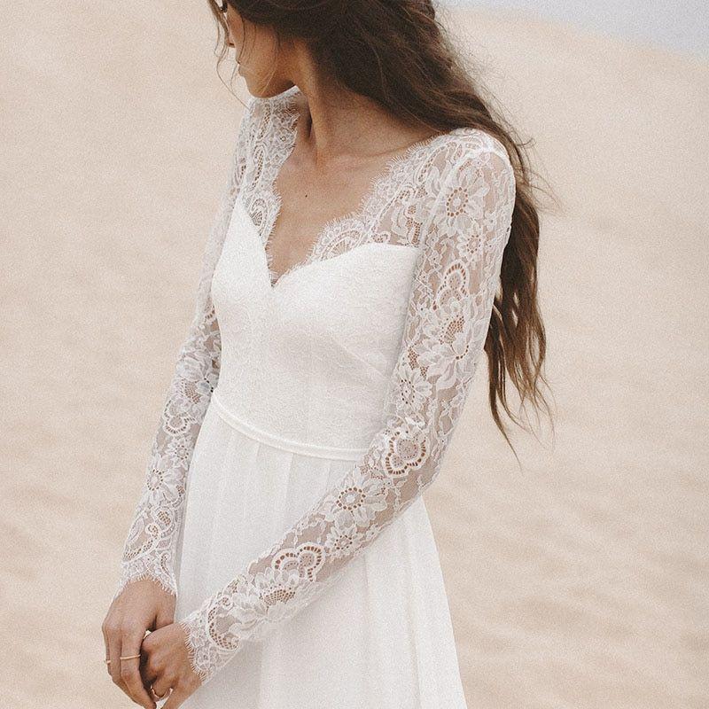 1b33552a2a LORIE Beach Wedding Dresses Long Sleeve V Neack Lace Top A Line Chiffon  Skirt Open Back