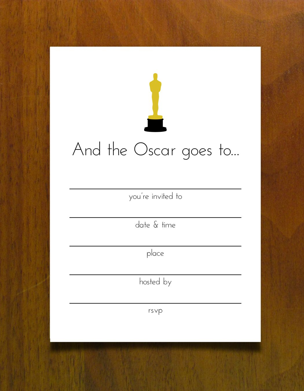 Free Printables for an Oscar Party #invite #oscars #free | oscar ...