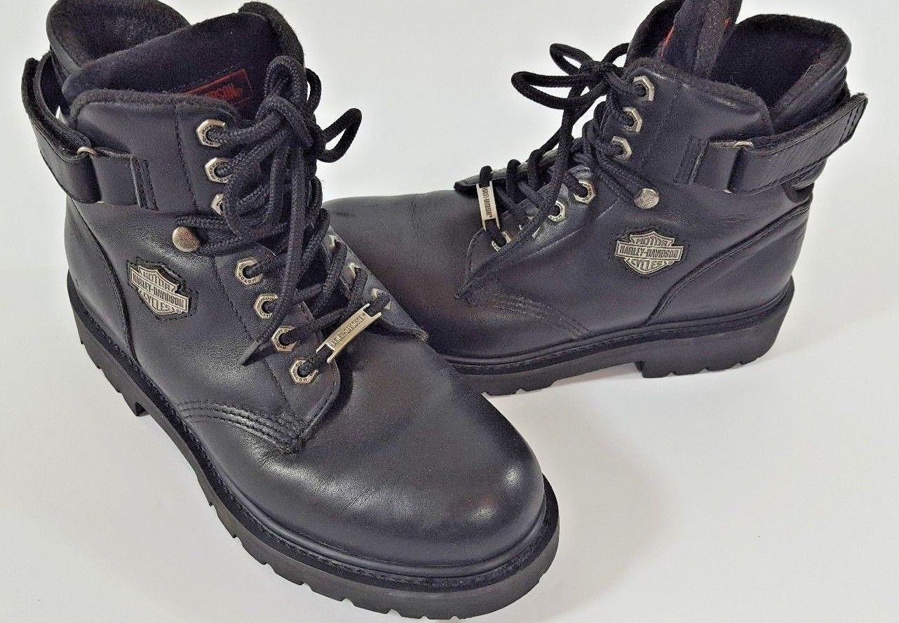 5707662d9859 Harley Davidson Leather Motorcycle Boots Womens US Size 8.5 Black Style  91017