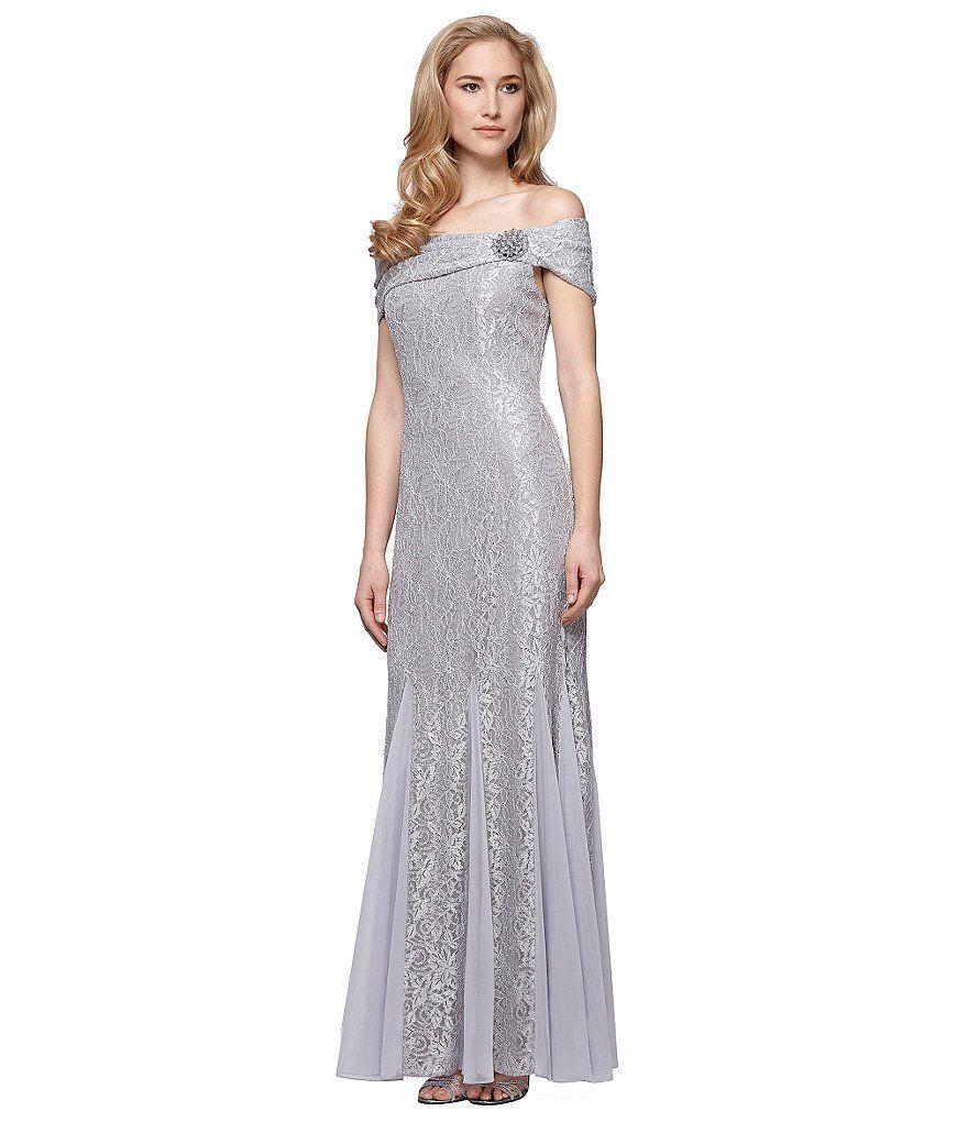 Alex Evenings Godet Detail Beaded OffShoulder Dress Mature