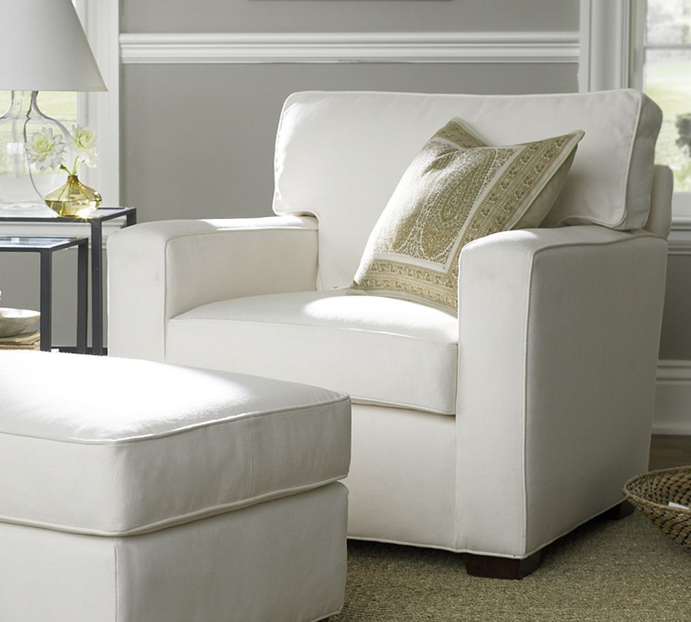Square Upholstered Armchair - Pottery Barn ( Chair / ottoman Fabric ...