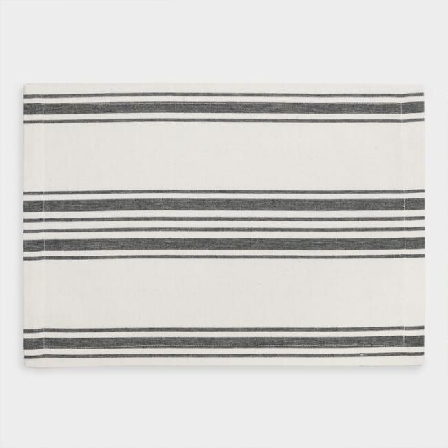 *actual* Formal Dining Placemats: Blue Villa Stripe Placemats, Set Of 4