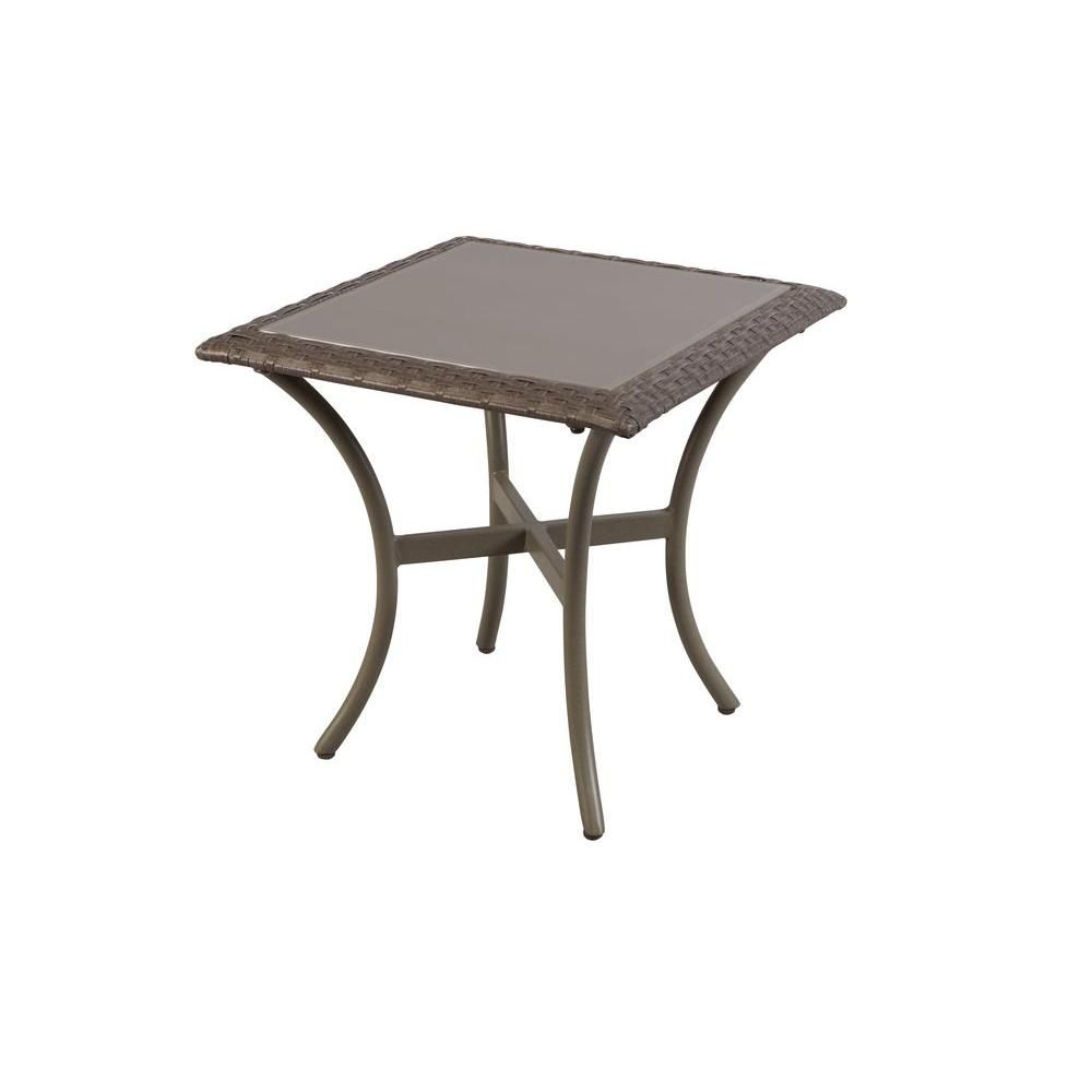 Hampton Bay Posada 18 In Glass Top Outdoor Patio Side Table 153