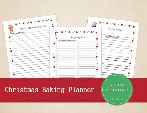 Christmas Baking Planner Dinner Menu Planner Shopping List And