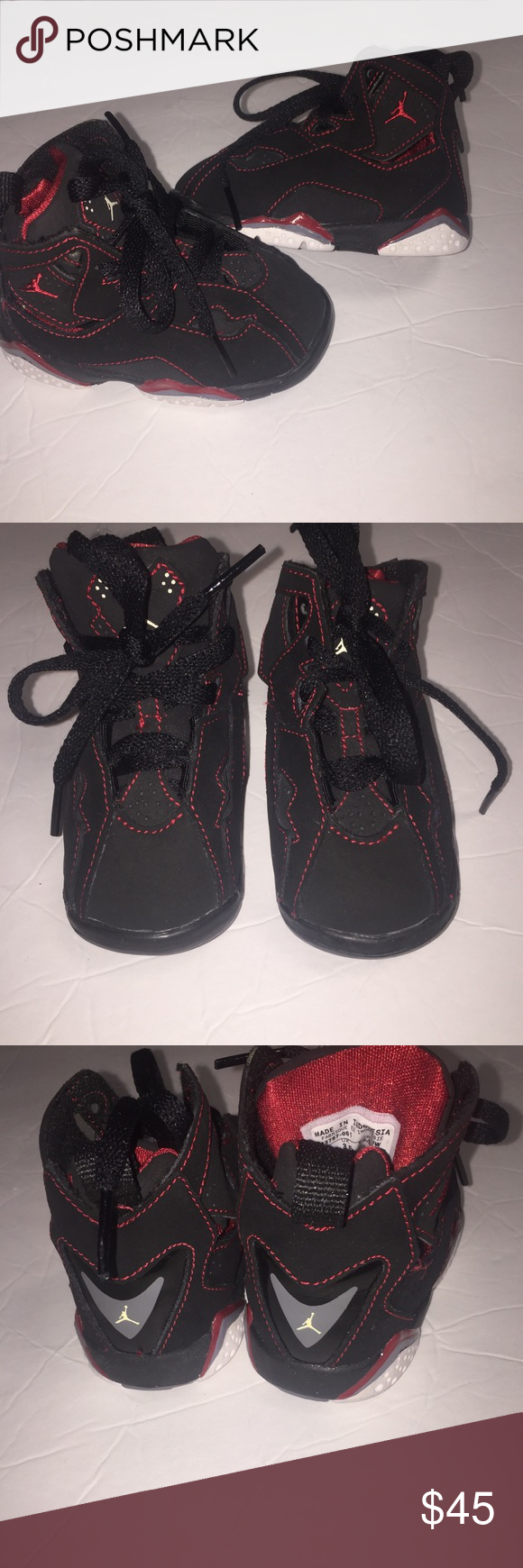 da66308b668 Kids Nike Air Jordans Retro 7 Black red sneakers 4 Toddler Kids Nike Air  Jordans Retro 7 Black red sneakers size 4c. Good condition. No box.