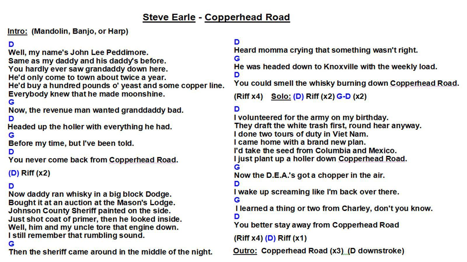 Steve Earle   Copperhead Road WS   Ukulele chords songs, Ukulele ...
