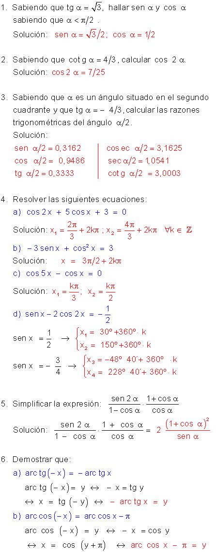 Fórmulas Y Ecuaciones Trigonométricas Ejercicios Resueltos Ecuaciones Ejercicios Resueltos Polinomios